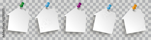 White Paper House Stickers Colored Pins Transparent Canvas Print