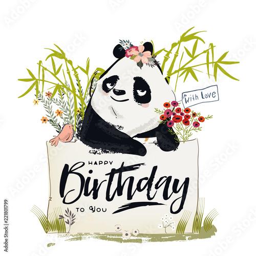 Fototapeta premium Mała panda urodzinowa