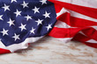 American flag close up on wood desk