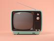 Leinwanddruck Bild - Blue tv on pink background 3D illustration