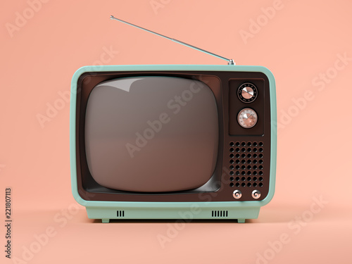Fotomural Blue tv on pink background 3D illustration