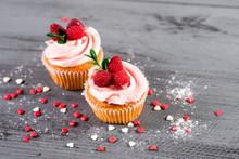 Sweet Cupcakes With Raspberrie...