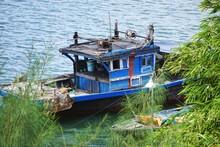 Funky Ancient Blue Fishing Boat On The Thu Bồn River Near Hoi An Vietnam