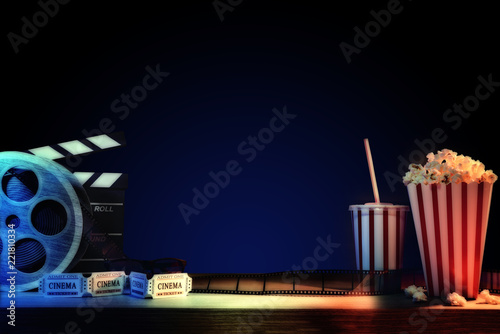Equipment and elements of cinema with dark blue background