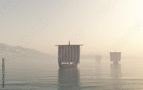 Viking Longships Approaching through the Mist - fantasy illustration Canvas Print