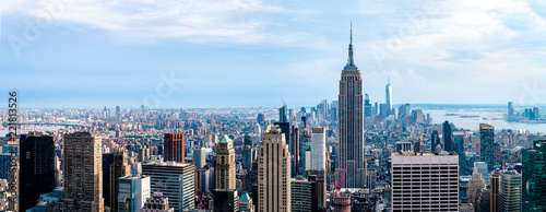Poster New York Cityscape view on downtown of Manhattan in New York City