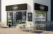 Cafe Store With Terrace On The...