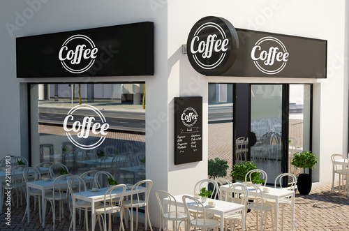 Photo coffee shop facade with signboards and branding elements mockup
