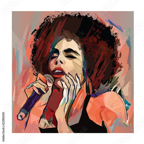 Foto op Plexiglas Art Studio Jazz singer with microphone
