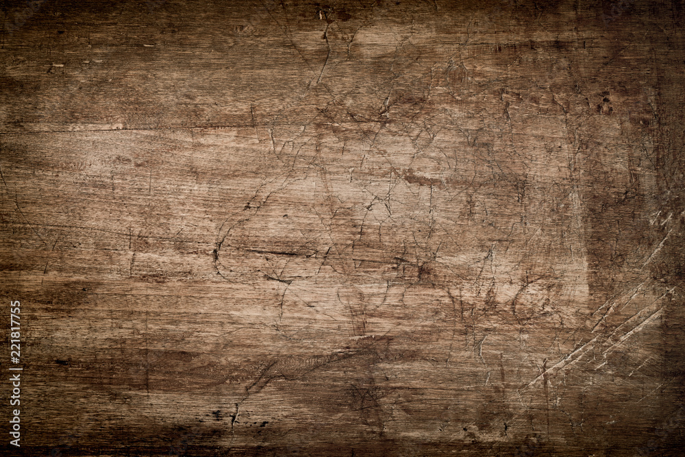 Fototapety, obrazy: Dark Brown Wood Texture with Scratches
