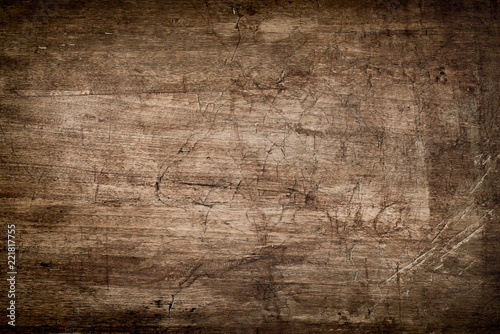 obraz lub plakat Dark Brown Wood Texture with Scratches