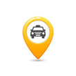 Yellow taxi icon. Map pin with taxi car sign.
