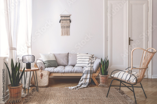 Armchair near beige sofa with pillows in living room interior with plants and door. Real photo