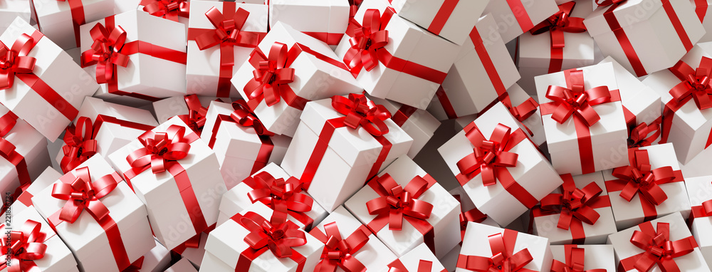 Fototapeta Zu Weihnachten viele Geschenke mit Schleife