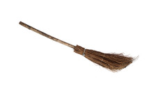 Old Sweeping Broom , White Bac...