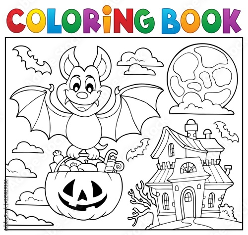Coloring book Halloween bat theme 2