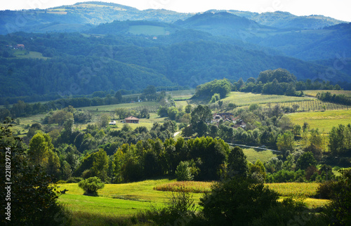 Spoed Foto op Canvas Blauwe jeans Green caucasus mountain landscape,