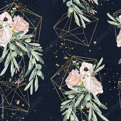 Seamless watercolor olea floral pattern with olive branches, leaves, blush flower bouquets, paint splashes and gold geometric shapes on black background