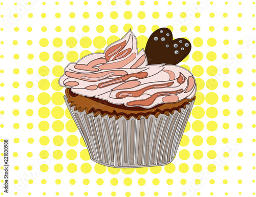 Fotobehang Pop Art Strawberry cupcake on a yellow pop art background.