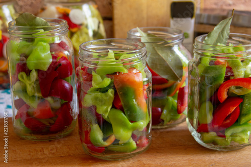 Tela prepared for canning, clean washed and cut into pieces sweet pepper