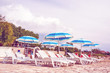 umbrellas and sun loungers on the beautiful European beach