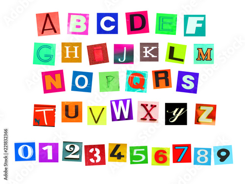 Fotografía  Colorfur newspaper alphabeth and number