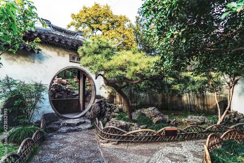 Suzhou garden, traditional architecture Fotobehang