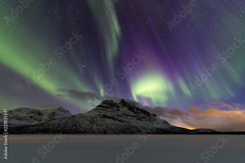 Poster Aurore polaire Nothern lights in Lofoten islands