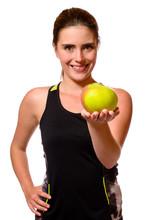 Sportlerin Mit Apfel