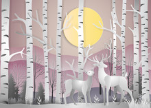 Deer In Forest Landscape At Dawn With Snowflakes And Mountains Background. Paper Art And Digital Craft Style. Vector Illustration.