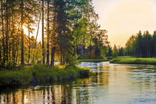 Sunset Over River Sunlight Th...