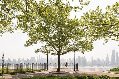 New York City midtown Manhattan skyline panorama view from Boulevard East Hamilton Park over Hudson River Tablou Canvas