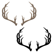 Antler Vector Isolated Illustration In Both Color And Black Line Art