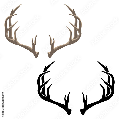 Fotografie, Obraz  Antler Vector Illustration in both Color and Black Line Art