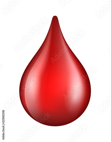 Fotografía Vector red shiny blood drop isolated on white background - donation, dna test, d