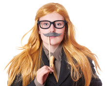 Young Woman With Fake Moustach...