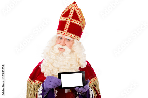 Photo  Saint Nicholas with tablet or smart phone
