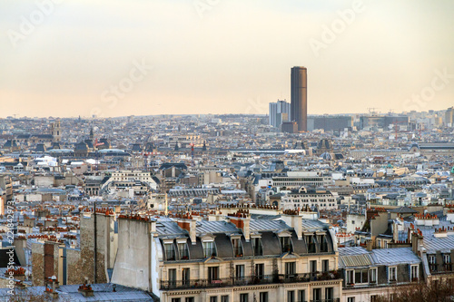 Keuken foto achterwand Seoel Beautiful Paris afternoon cityscape seen from Montmartre with the tour Montparnasse skyscraper