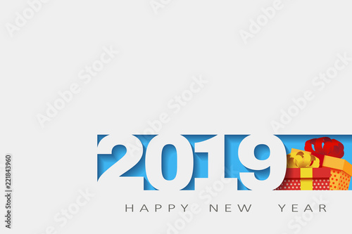2019 happy new year numbers design of greeting card of happy new year banner