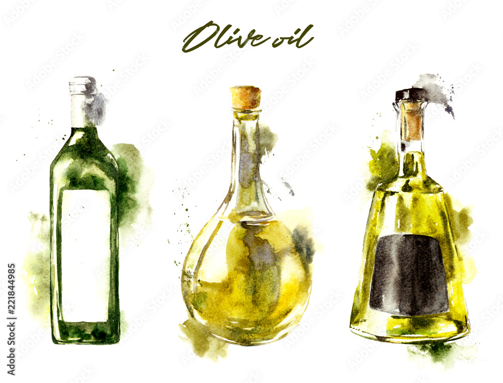 Fototapety, obrazy: Watercolor bottle with olive oil on white background. Hand drawn watercolor illustration with splashes