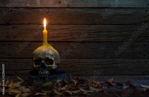 Fotomural Skull with candle and Dry leaf on old wooden table