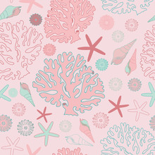 Seamless Coral And Sea Shell Vector Pattern In Pastel Shades Of Pink And Turquoise, Perfect For Wallpaper, Scrapbooking, Textile And Gift Wrapping Paper
