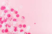 Pink Colorful Festive Confetti. Flat Lay Style.