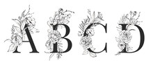Graphic Floral Alphabet Set - Letters A, B, C, D With Black & White Flowers Bouquet Composition. Unique Collection For Wedding Invites Decoration, Logo And Many Other Concept Ideas.
