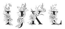 Graphic Floral Alphabet Set - Letters I, J, K, L With Black & White Flowers Bouquet Composition. Unique Collection For Wedding Invites Decoration, Logo And Many Other Concept Ideas.