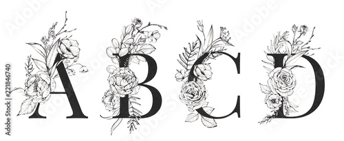 Photographie  Graphic Floral Alphabet Set - letters A, B, C, D with black & white flowers bouquet composition