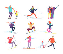 Winter Sports People. Adult An...