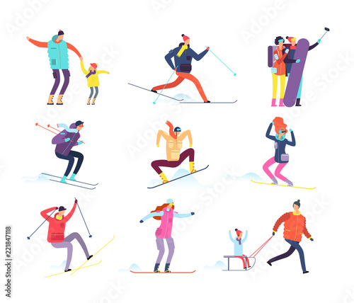 d747cb8b45 Winter sports people. Adult and children in winter clothes snowboarding and  skiing. Vector cartoon characters. Winter snowboard and ski