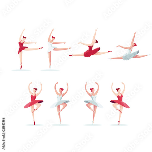 Photo Vector illustration of a ballerina collection