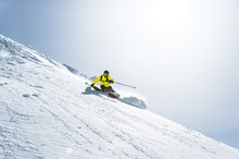 The Total Length Of Skiing On Fresh Snow Powder. Professional Skier Outside The Track On A Sunny Day